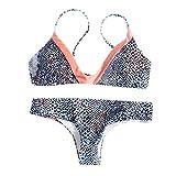 IZHH Bikini Bikini-Set mit hoher Taille gedruckt Badeanzug Monokini Bikini-Bikini-Badeanzug mit Print(Blau,Small)