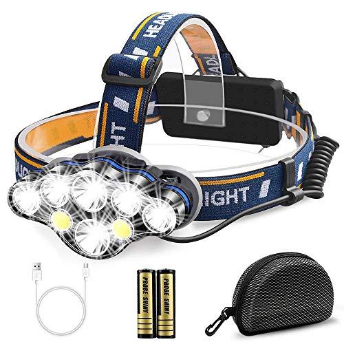 Migimi Lampe Frontale Super Puissante, Lampe Torche 8 Modes USB Rechargeable 13000 Lumens avec 8 LEDs, IPX4 Étanche Lampe Frontale pour Pêche, Camping, Lecture, Randonnée, Cyclisme