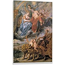 """Kunst für Alle Glass picture: Peter Paul Rubens""""Heinrich IV.v.FK Allegorie Vermählung"""", high quality wall picture, brilliant art print on real glass, 24x31 inch"""