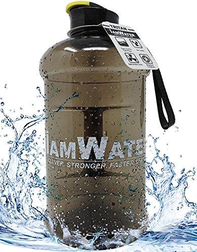 Borraccia I am Water durevole in Tritan per idratazione con tappo a vite o flip top da 2,2 litri, senza BPA; bottiglia per palestra, ciclismo, fitness, dieta, bodybuilding o ufficio; idratazione ottimale, Blue