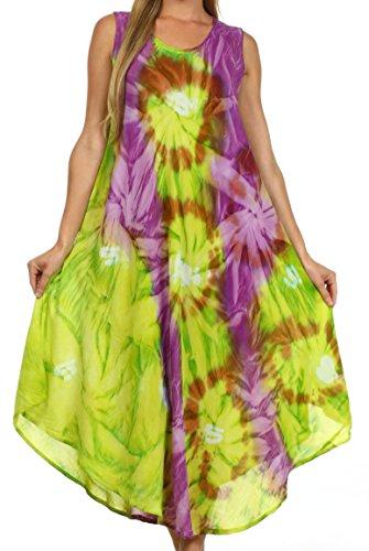 Sakkas 00831- Sternlicht-Kaftan-Behälter-Kleid / vertuschen-grün / lila-One Size (Lila Kaftan)