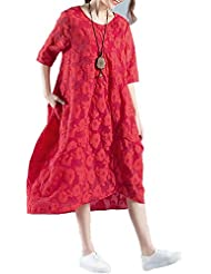TT De gran tamaño algodón y lino Mujeres Arte y el vestido de encaje jacquard Crafts High-End , red , xl