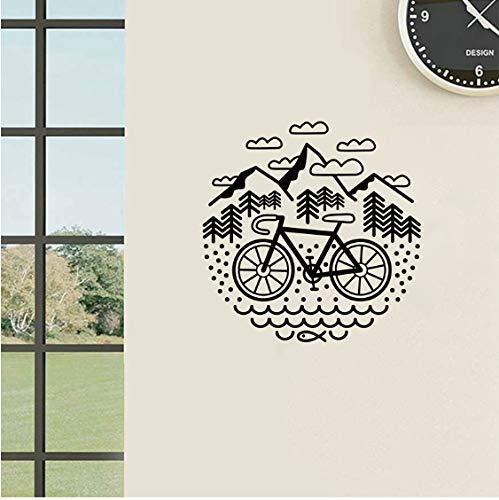 Fahrrad und Berge Wandtattoo Radfahren Kies Fahrrad Vinyl Aufkleber Outdoor Radfahren Wand Decor 56 * 56 cm