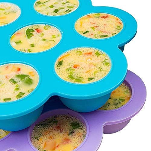 LLHH Silikon-Ei beißt Formen Eiswürfelschale Blume 7-Loch-Babynahrung Ergänzungsbox für 5, 6, 8 qt Schnellkocher, Gefrierschrank Zubehör -