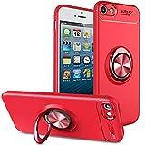 BtDuck iPhone SE Hülle mit Ring, Soft Ultra Slim Matt Dünn Silikon Hülle für iPhone SE/iPhone 5S mit Metall Ring Handyhalterung Auto Magnet Ständer Smartphone Halter Ständer Ringhalter Hülle Rot