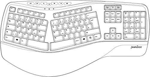 Perixx PERIBOARD-512 II Ergonomische Tastatur - Geteiltes Tastenfeld - USB - Empfohlen bei Tennisarm -QWERTZ Deutsches Layout - Schwarz - 6