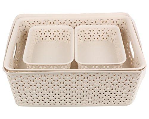 Miamour 4 Piece Plastic Crate, Beige