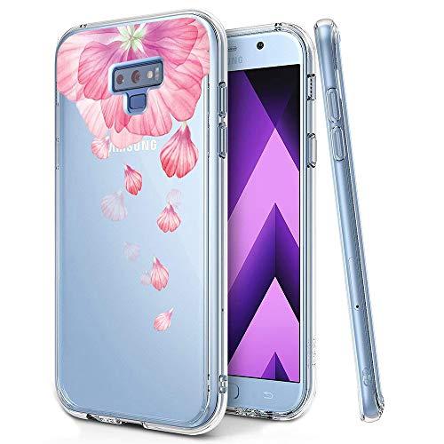 KeKeYM Blume Case für Samsung Galaxy Note 9 2018, Telefonhülle Ultradünnes Silikonmuster Rückenprotektor Weiche Haut, Kristallklar Gel Stoßfester, Slim Transparenter Schutz - Rosa Blütenblatt