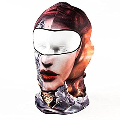 Honyi Fashion Unisex Face 3D Print Ski Balaclava Full Face Cycling Mask Ski Balaclava Neck Hood Full Face Mask Hat Sports Skull Face Mask (BB032)