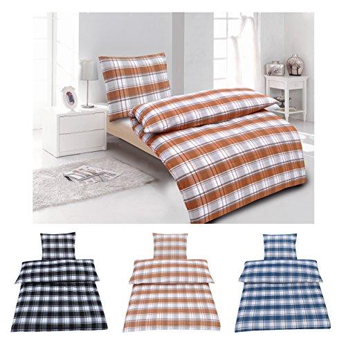 Biber Bettwäsche Premium Baumwolle buntgewebt in 3 Farben, Valdez Taupe 1x 135x200 1x 80x80 (Orange Und Taupe Bettwäsche)