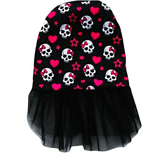 Ollypet Halloween Hund Kostüm Kleid Skull Print Skelett Outfit für Kleine Hunde Katze Apparel Schwarz, XL, Schwarz