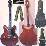 Epiphone Dot-CH - Semiakustik Gitarre (cherry/rot, Guitar) mit Gurt und Lenz-Tasche.