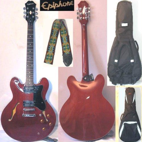 Epiphone Dot-CH - Semiakustik Gitarre (cherry/rot, Guitar) mit Gurt und Lenz-Tasche. (Gurt Cherry)