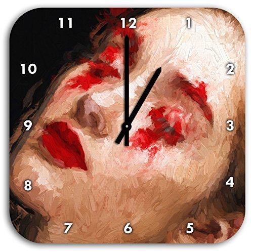 Stil.Zeit Frau mit roten Puder Pinsel Effekt, Wanduhr Quadratisch Durchmesser 28cm mit schwarzen...