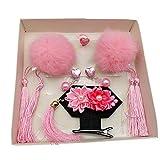 HLCE Fiesta de Pascua de Navidad de Halloween Horquilla Clásica Animal Bola Borla Horquilla Cheongsam Accesorios Bebé Niña Mullida (Color : Pink)