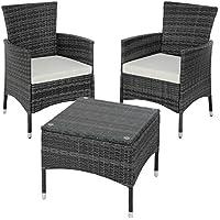 TecTake Set de jardín de poli ratán | 2 sillones y pequeña mesa con placa de cristal | Marco resistente de acero - disponible en diferentes colores - (Gris | No. 402864)