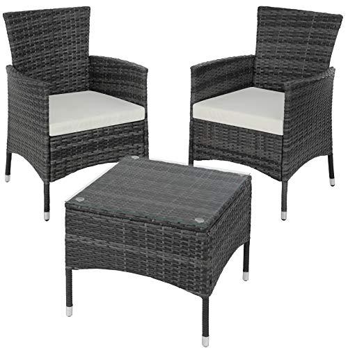 TecTake Résine tressée set de jardin | 2 chaises et petite table à plateau en verre | Châssis robuste en acier - diverses...