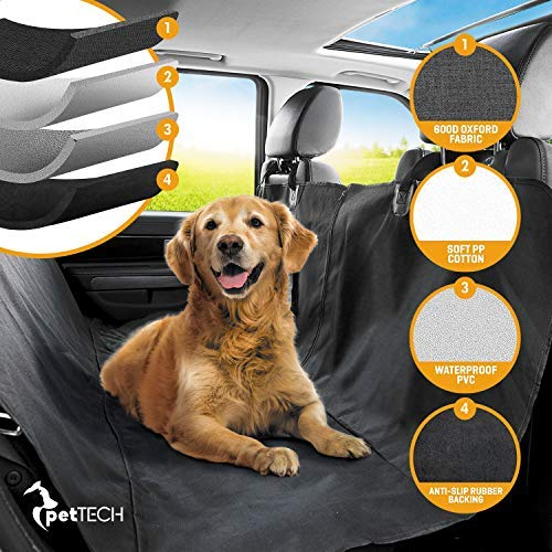 Pettech protezioni per sedili auto (coprisedile per cani grande e piccola). installazione semplice e facile da pulire. protegge la tua macchina. 100% impermeabile con design antiscivolo