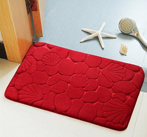 Alfombras de baño, Morbuy Antideslizante Alfombra de baño de franela cómoda Alfombra de baño Alfombra de ducha suave super absorbent (40*60 cm, Rojo)