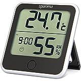 Sparoma digitales Thermo-Hygrometer, Indoor multifunktionaler Thermometer mit Max/Min-Werte von Temperatur/Luftfeuchtigkeit, Hygrometer mit Klima-Indikator, Klima-Monitor für den Schreibtisch / an die Wand / das Haus / das Büro