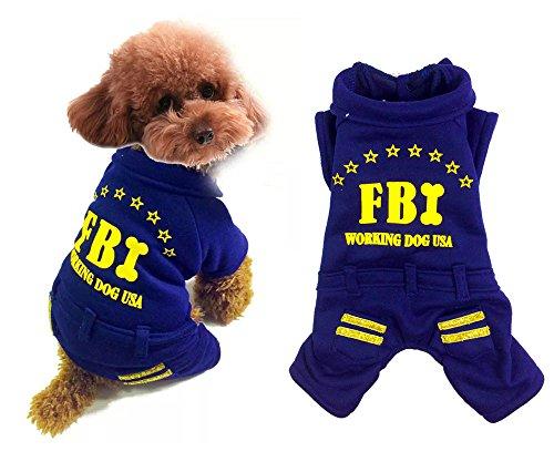 Kostüm Fbi Jacke (Pet Katze Hund Kleidung FBI Coat Samt Fleece Jacke Jumpsuit Kleine Hunde Kostüme XS S M L)