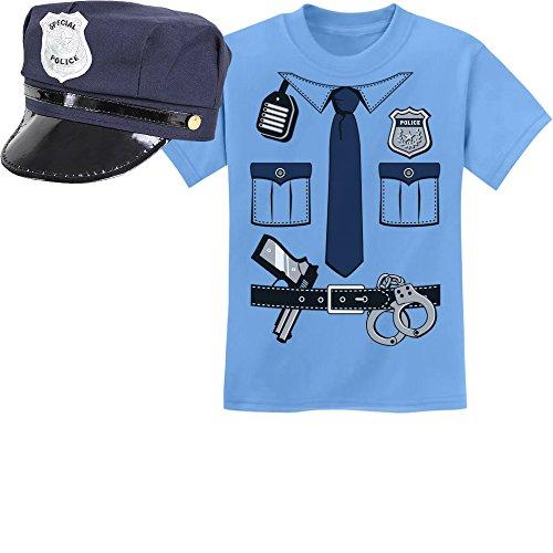 Kids Polizeikostüm Uniform Verkleidung Karneval Set Kinder T-Shirt und Polizeimütze 7-8 Jahre (128cm) Hellblau