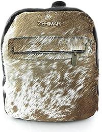 Zerimar Mochila de piel de vaca de gran calidadIdeal para regalar Bolsillo interior y exterior con cremallera PRECIOS DE REBAJAS - AHORA 0 NUNCA Medidas 27 x 23 x 8 cms