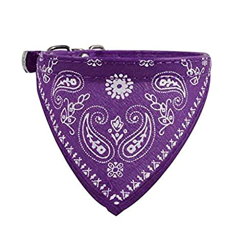 Collier chien réglable Puppy chat Neck Scarf Bandana Collier Foulard (30.5*0.9cm, Voilet)