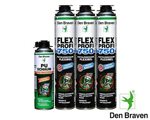 Den Braven Spar Kombi Set 3x Flex Profi Fensterschaum 750ml B2-Qualität inkl. PU Reiniger - luftdichtes Verfüllen, Abdichten von Fugen, Hoch- und Tiefbau, hocheffektiv ,energieeffizient, dauerhaft elastisch (Elastische Flex)