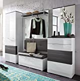 Froschkönig24 Kingston 1 Garderoben Set Komplettset Flur Komplettgarderobe Weiß/Grau