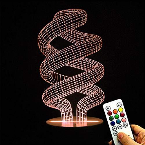 Deerbird® 3D optische Spirale DNA Keys Fernbedienung 7 Farbe ändern Touch LED weiß Basis Schreibtisch Lampe Nacht Licht für Zuhause Dekor Muttertag Geschenke