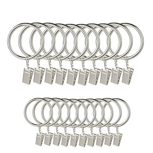 LumenTY 40 Stück Vorhangringe aus Metall mit Clips für Vorhänge und Stangen – 30 und 38 mm Innendurchmesser Gardinenstange Gardinenstange Voile Netz mit festen Ösen – Silber