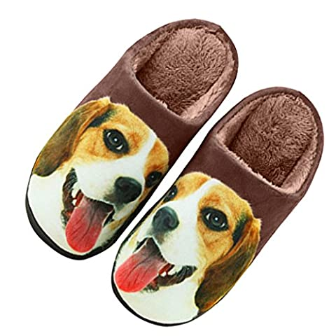 FakeFace Vivid Wolf Micro Chenille Clog Slipper House Indoor Slippers Home Shoes with Velvet Fleece Warming Lining Non Slip Silicone Sole Slip on Mules Clog -Wolf, EU40/41