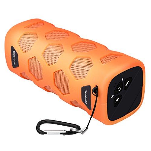 Altavoz Bluetooth al Aire Libre, Esonstyle Hilos al Aire Libre Impermeable a Prueba de Polvo a Prueba de Choques de Altavoces con 10W de Sonido de Alta Definición y la Batería de 4000 mAh Soporte Banco de la Energía, NFC y Construir-en el Micrófono para el iPhone, iPad, Samsung y Más (Naranja)