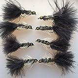 BestCity Köder für Fliegenfischen, mit Gewicht, 8-12, 8 Fliegen, schwarz, #124B