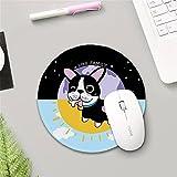 @A Office Nordic Minimalistischen Kreative Rundschreiben Mouse Pad Ohne Rutschen Gummifüße Glatte Oberfläche Für Eine Schnelle Und Präzise Bewegung Geeignet Für Jede Maus Tastatur Und Notebook, Kleinen Schwarzen Hund, Durchmesser 20