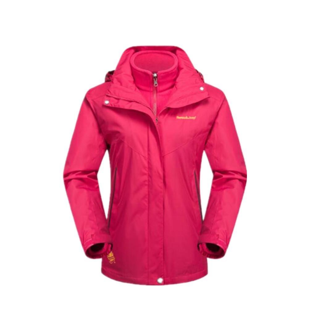 XLHGG Soft Shell giacche da donna Giacca da sci 3-in-1 due pezzi zip frontale staccabile collare ca