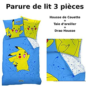 parure de lit 3pcs housse de couette taie d 39 oreiller drap housse imprim pokemon. Black Bedroom Furniture Sets. Home Design Ideas
