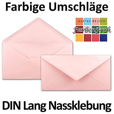 Briefumschläge in Rosa   100 Stück   gefärbte Kuverts in DIN Lang Format 110 x 220 mm   Nassklebung   komplett durchgefärbtes Papier   Post-Umschläge ohne Fenster   ideal für Weihnachten, Grußkarten und Einladungen   Serie FarbenFroh