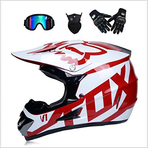 GJSN Casco de Motocross para adultos MX Off Road Helmet Scooter ATV Casco Certificado por Multicolor con Gafas/Guantes/Máscara (S Youth 52-53cm - XL, 4 style) (color : C-M)