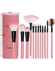 12pcs-set Professionelle Kosmetik Pinsel Make-up Pinsel Set Lidschatten Eyeliner Gesichtspuder Blush Brush mit Tasche und Tasche rot