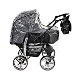 3-in-1 Travel System with Baby Pram, Car Seat, Pushchair & Accessories, Black Flowers  3-in-1 Travel System with Baby Pram, Car Seat, Pushchair & Accessories, Black Flowers 51PPKc9kDjL