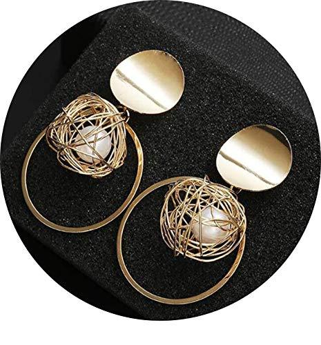 Tropfen-Ohrringe für Frauen-goldene Farben-runde Kugel Geometrische Ohrringe für Partei-Hochzeit Geschenk Ohrschmuck, C1779 - Band Kugel-hochzeit