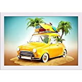 ArtzFolio Funny Retro Car Poster White Frame with Glass 13.5 X 9.5Inch