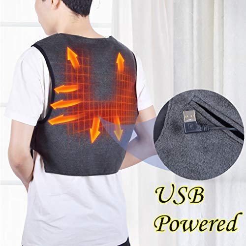 MMLC Elektrische Beheizte Weste, USB-Lade Erhitzt Polaren Fleece Kleidung Winter Warme Weste (L/XL)