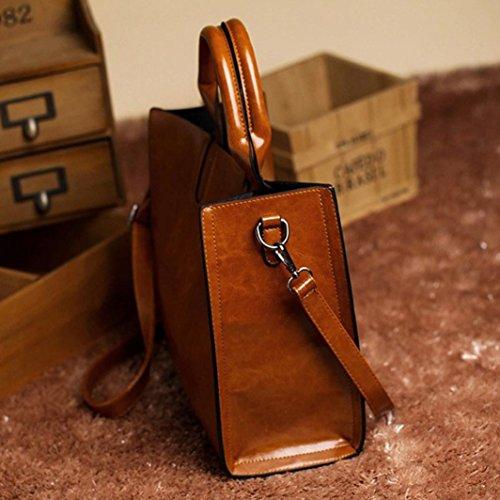 Mode Braun Handtasche Handtaschen Schultertasche Huhu833 Frauen Damen Messenger Satchel Leder nEaSw