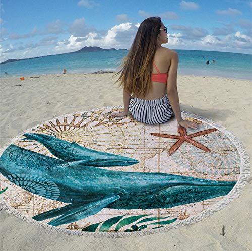 Runder Teppich Marine Sea Sea Turtlebeach Strandtücher Aus Mikrofaser hergestellt Sea Life Style Strandtuch Ca. 200 cm - Runde Marine Teppich