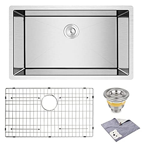 YOHOM 32-Inch Undermount Deep Single Bowl 16 Gauge Stainless Steel Kitchen Handmade Basin Sink,10 Inch Deep Basin,Brushed Finish