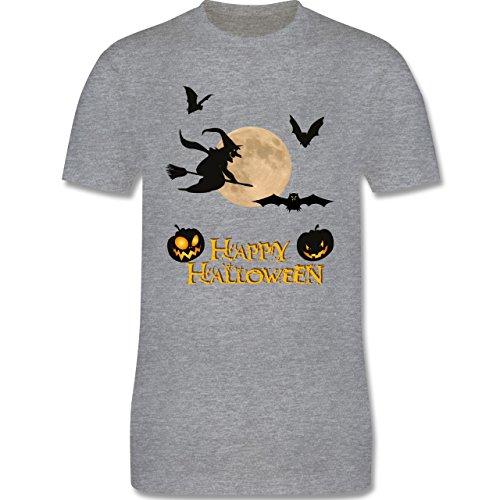 Halloween - Happy Halloween Mond Hexe - Herren Premium T-Shirt Grau Meliert