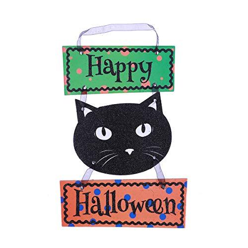 OUNONA Halloween hängenden Tag mit Happy Halloween Zeichen für Tür Wand(Schwarze Katze)
